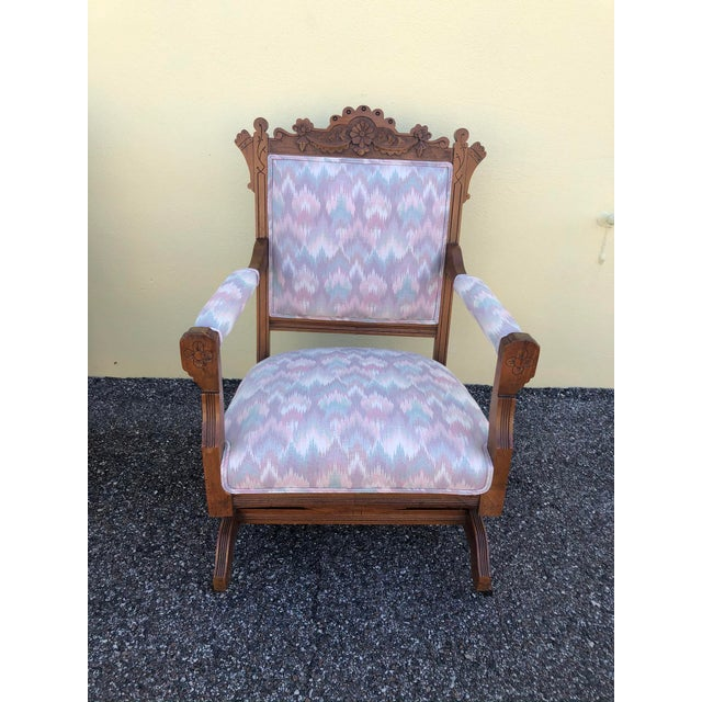 Victorian Late 19th Century Vintage Eastlake Arm Chair & Rocker- a Pair For Sale - Image 3 of 12