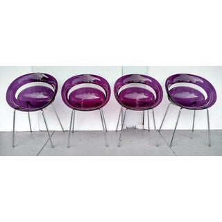 Tina Translucent Purple Chairs, by Arik Levy, Made in Italy, Set of 4 Preview