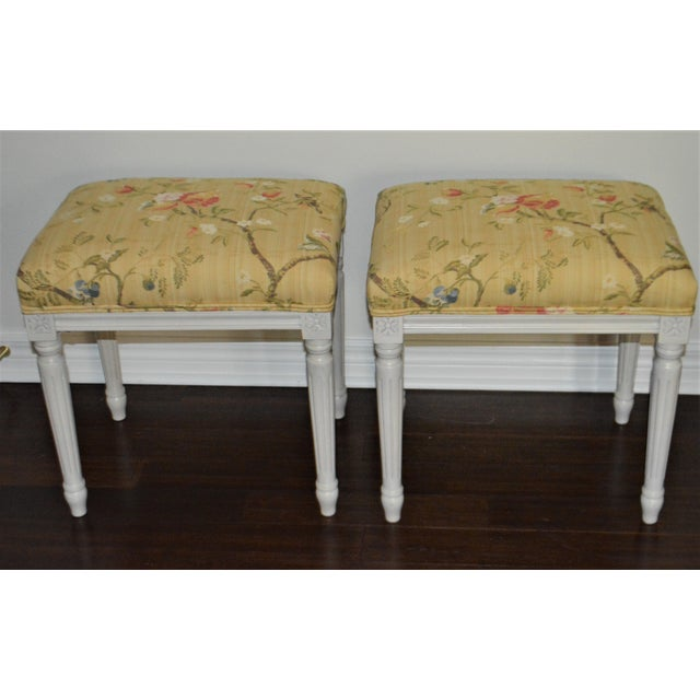 Gustavian Yellow Fabric Benches - a Pair For Sale - Image 9 of 9