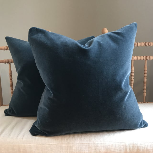 """Gorgeous 22"""" 100% Mohair Velvet Pillows. A pair. Fabric is Schumacher Mohair in Hague Blue. See photo for color compared..."""
