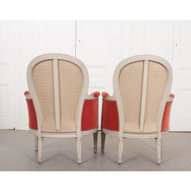 French 19th Century Louis XVI Style Bergères -A Pair For Sale - Image 4 of 12