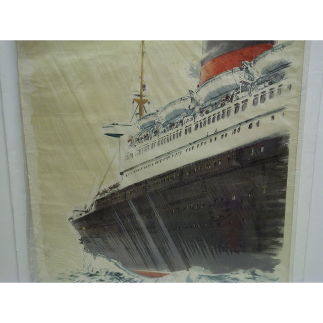 """Circa 1940 Vintage French """"Le Havre"""" Ship Poster For Sale In Pittsburgh - Image 6 of 6"""