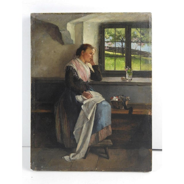 Oil on canvas of young woman at window, its spring outside and she has her mending and a small glass with flowers. By Carl...