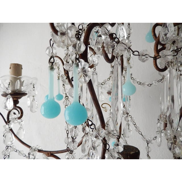 French Robins Egg Blue Opaline Beaded Chandelier, circa 1890 For Sale - Image 9 of 12