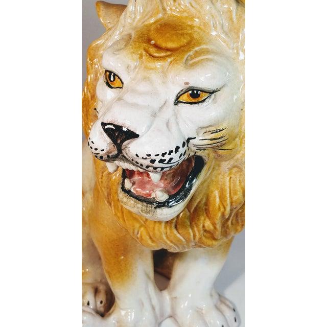 Vintage Italian Lion Terra Cotta Figurine For Sale - Image 11 of 13