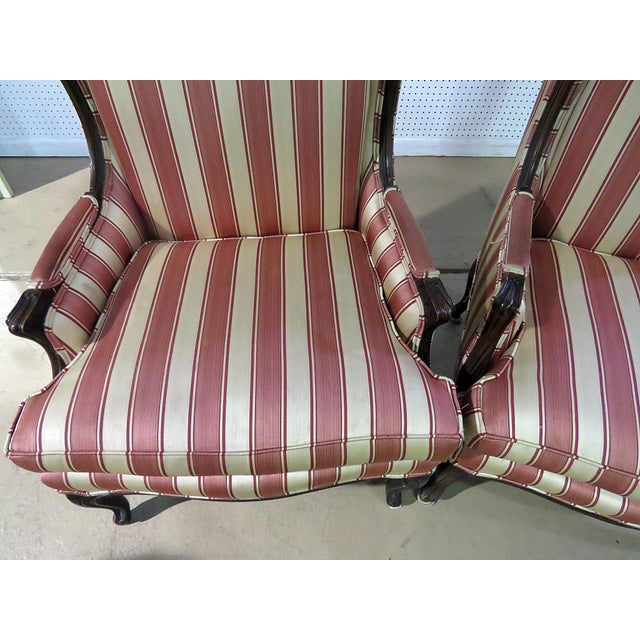 French Louis XV Style Wingback Chairs - a Pair For Sale - Image 3 of 13
