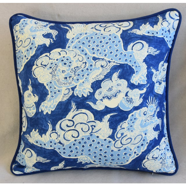 "Asian Blue & White Chinoiserie Dragon Feather/Down Pillows 22"" Square - Pair For Sale - Image 3 of 12"