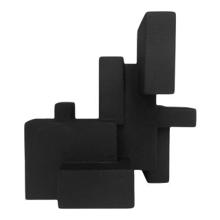 """Negative Space 5.3"" Matte Black Sculpture in Rubber Finish by Dan Schneiger For Sale"