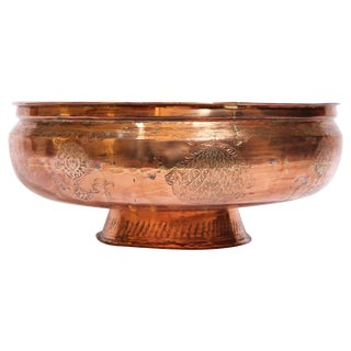 19th Century Middle Eastern Footed Tinned Copper Qajar Bowl For Sale