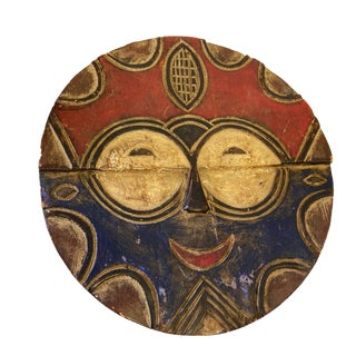 """African Baule Tribe Moon Mask I Coast 11.5"""" H For Sale"""
