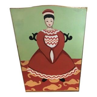 Chinoiserie Dana Gibson Empress Wastebasket For Sale