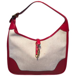 Hermes Vintage Canvas and Red Leather Trim Shoulder Bag For Sale