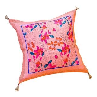 Teejan Handwoven & Block-printed Linen Pillow Cover For Sale
