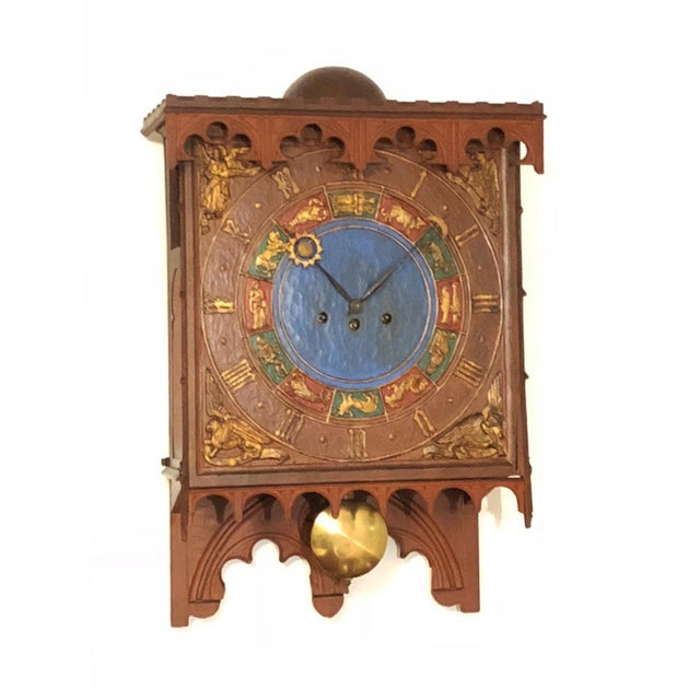 19th Century Danish Wooden Zodiac Clock in Gothic Style For Sale - Image 4 of 13