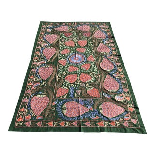 "Handmade Suzani Strawberry Design Crochet Embroidered Wall Hanging / Bedspread - 7'1"" X 3'7"" For Sale"