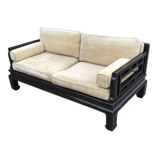 Lamont Ming Chinoiserie Solid Wood Loveseat Sofa For Sale