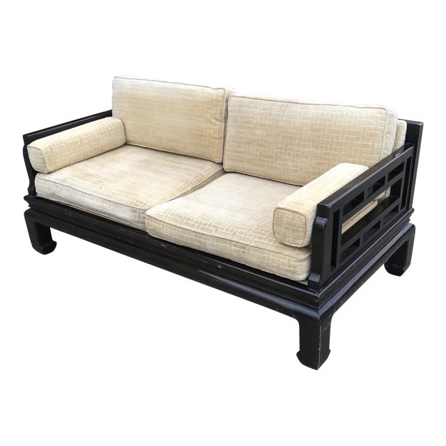 Lamont Ming Chinoiserie Solid Wood Loveseat Sofa** For Sale