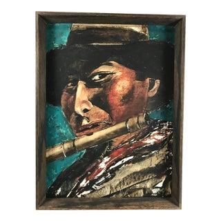 1970s Vintage Amilcar Zorrilla Salomon Framed Portrait of Peruvian Flutist Painting on Board For Sale