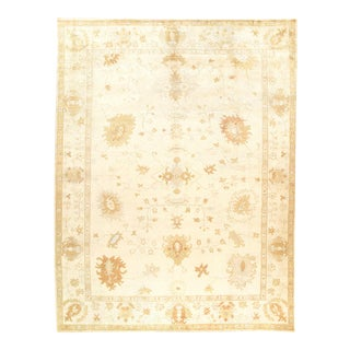 Ivory Fine Hand Knotted Oushak 9'4'' X 12'2'' For Sale