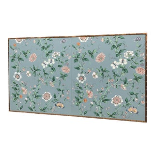 Gilt Bamboo Framed Blue Floral Chinoiserie Wallpaper Panels For Sale