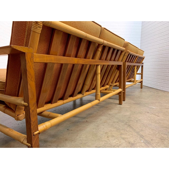 1960s Vintage Ficks Reed Walnut With Rattan Sectional Sofas - A Pair For Sale - Image 5 of 12