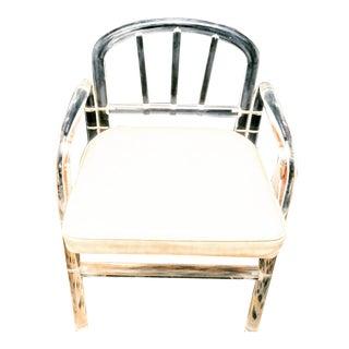 Vintage Charles Hollis Jones Bent Curved Lucite Small Vanity Desk Chair For Sale