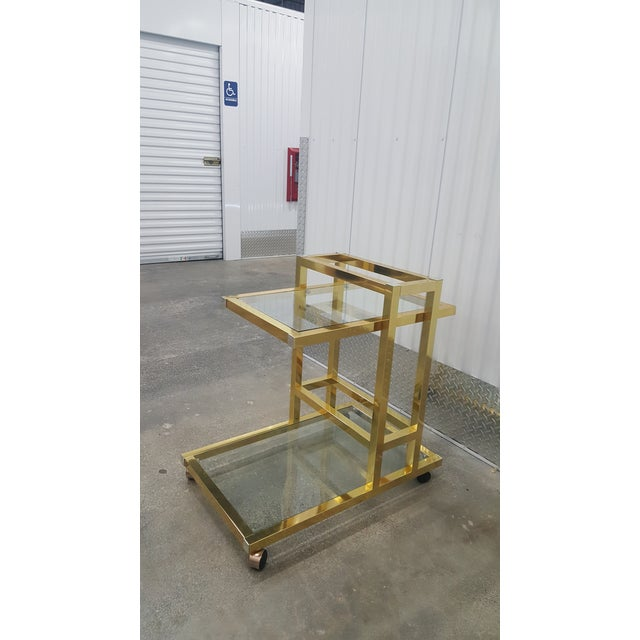 Vintage Brass Bar Cart. For Sale In Miami - Image 6 of 13