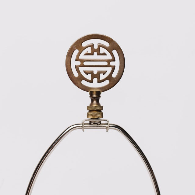 Table Lamp Brass with Asian Details For Sale - Image 4 of 5