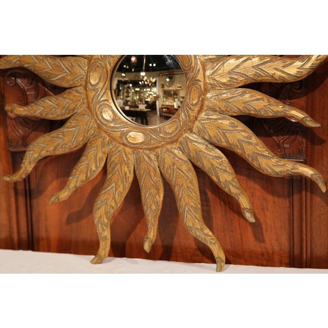 Gold Leaf Mid-Century French Sunburst Mirror With Gilt Finish and Motifs For Sale - Image 7 of 8