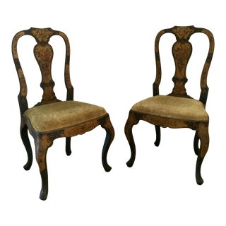 18th Century Vintage Venetian Hand Painted Chairs - A Pair For Sale