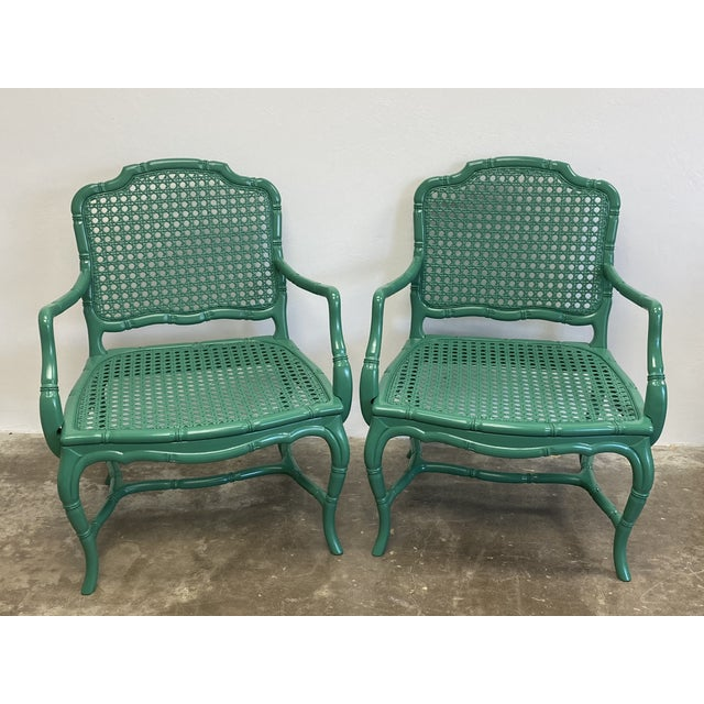 Vintage Green Lacquered Cane Chairs - a Pair For Sale - Image 13 of 13