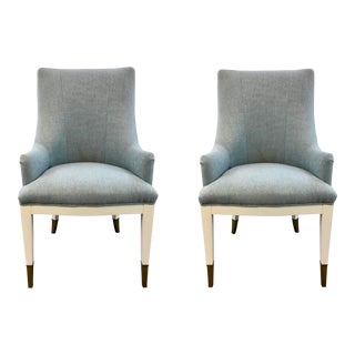 Caracole Couture Modern Robbins Egg Blue and White a La Carte Chairs Pair For Sale