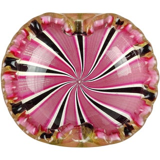 Murano Pink Black Ribbons Gold Flecks Italian Art Glass Mid Century Scalloped Rim Bowl For Sale