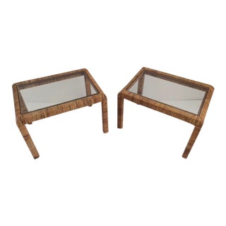 1980s Boho Chic Bielecky Brothers Rattan Side Tables - a Pair For Sale