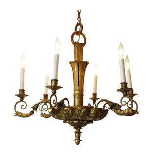 Mid 19th Century Fantastic Italian Giltwood Chandelier For Sale