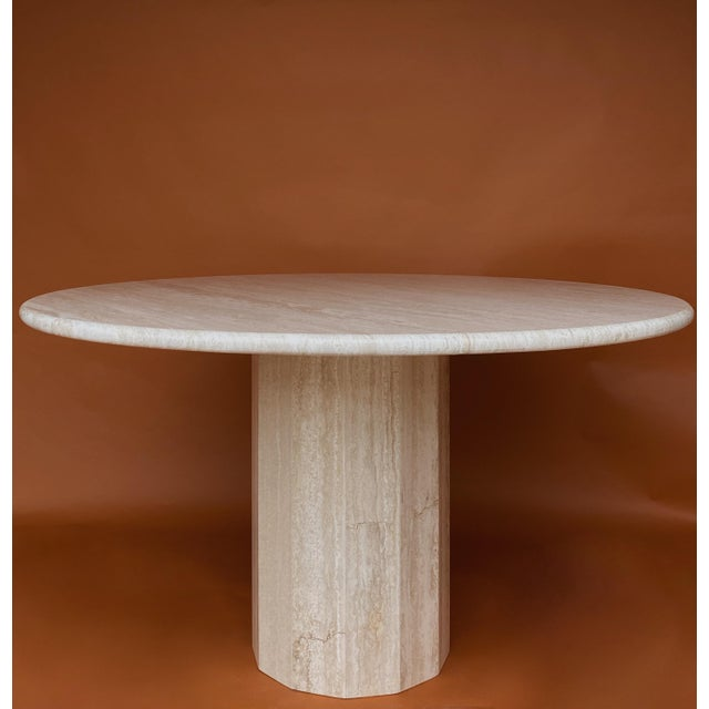 Stone Vintage Italian Stone International Travertine Dining or Entry Table For Sale - Image 7 of 8