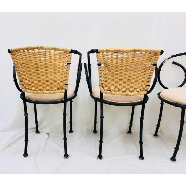 Faux Bamboo Vintage Metal & Wicker Bistro Chairs For Sale - Image 7 of 13