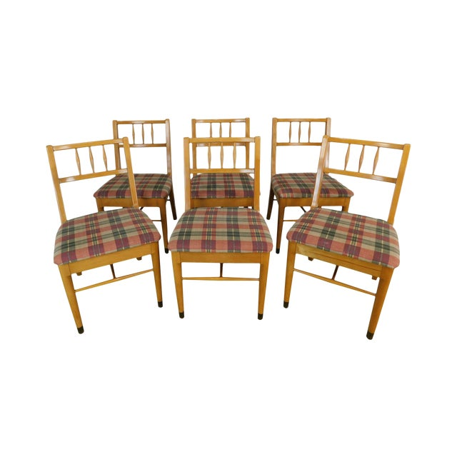 "Milo Baughman for Drexel ""New Today's Living"" Mid Century Modern Set 6 Blonde Dining Chairs For Sale"