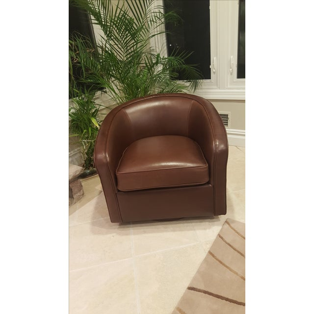 Room And Board Amos Leather Swivel Chair Chairish