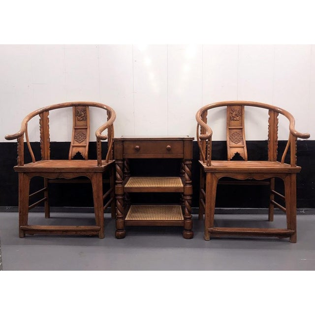 19th Century Large Chinese Ming-Style Horseshoe Back Chairs- A Pair For Sale - Image 10 of 13