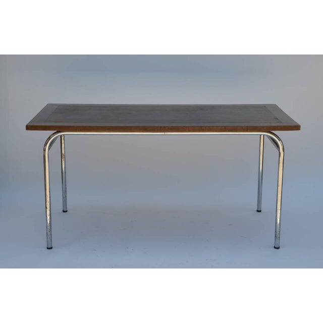 Chrome Set of Four French Modernist Rectangular Chrome and Mahogany Tables For Sale - Image 7 of 7
