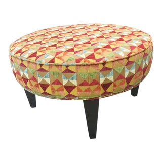 Mid Century Modern Geometric Embroidered Oversized Round Stool Ottoman For Sale