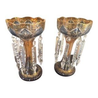 Floral Gold Leaf Glass Lusters - a Pair For Sale