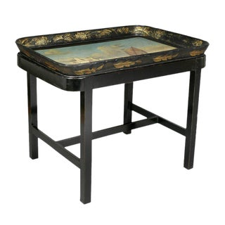 Regency Papier Mache Tray Table with Nautical Scene For Sale