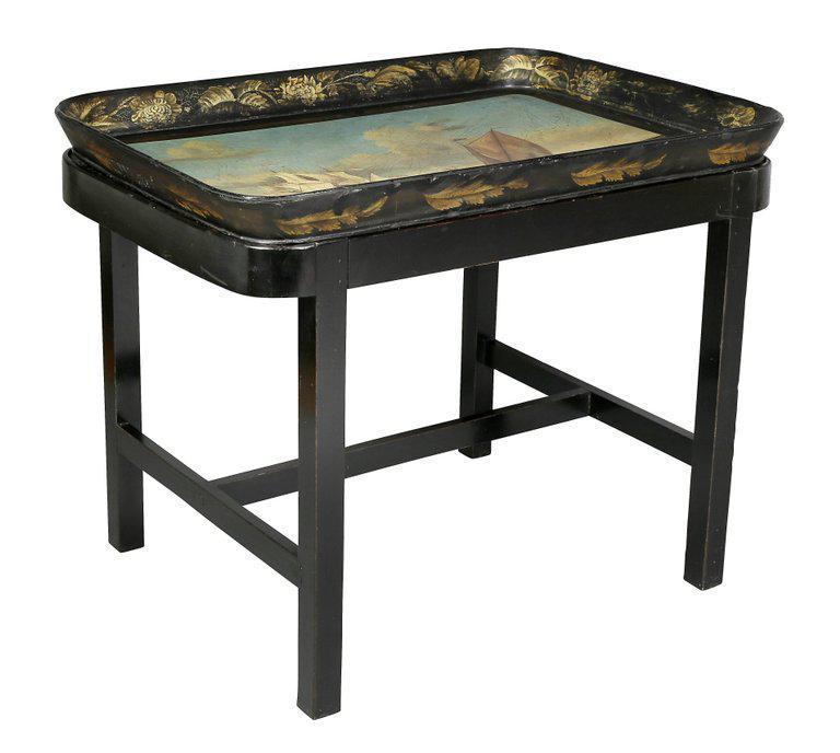 Regency Papier Mache Tray Table With Nautical Scene