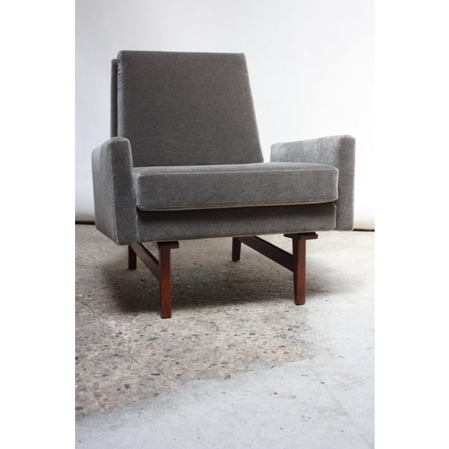 Early Jens Risom Walnut and Mohair Lounge Chair For Sale - Image 9 of 9