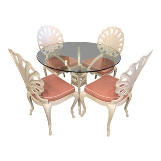Vintage Brown Jordan Grotto Shell Back White Powdercoated Outdoor Patio Dining Table and Chairs -Set of 5 For Sale