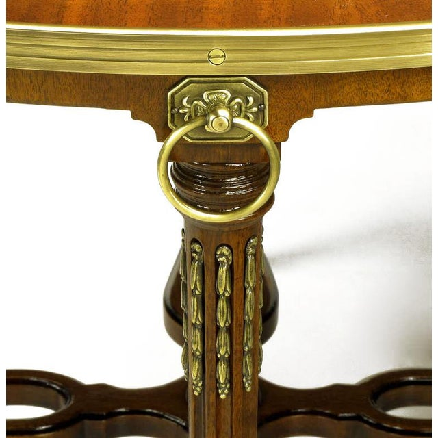 John Widdicomb Regency Center Table With Crotch Mahogany Parquetry Top For Sale In Chicago - Image 6 of 11