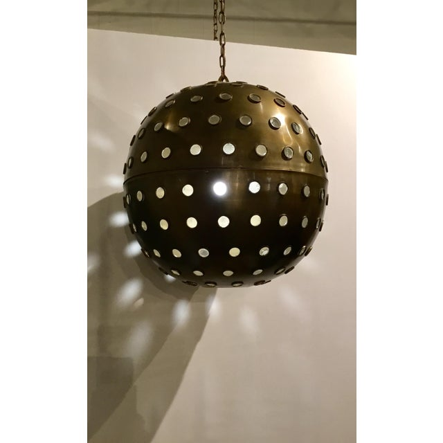 Currey & Company Currey & Co. Modern Brass and Glass Orb Pendant Prototype For Sale - Image 4 of 5