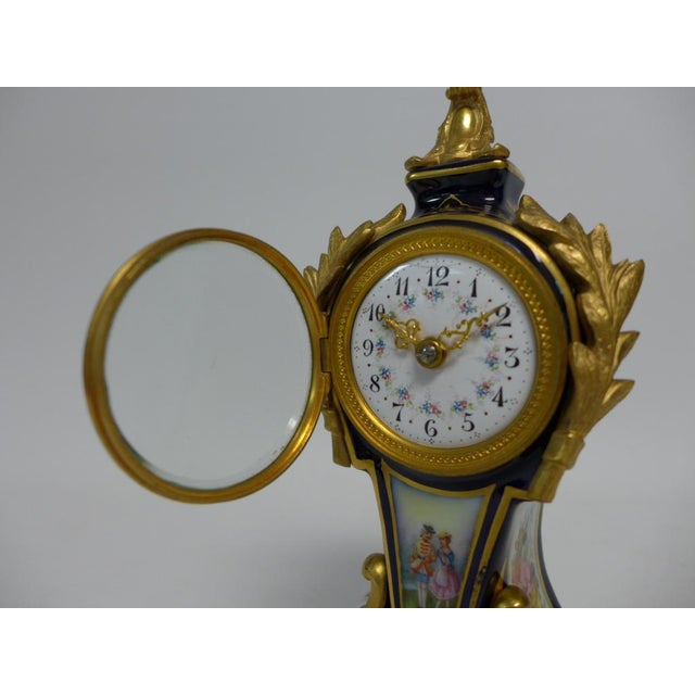 20th Century Belle Epoque Gilt Bronze Mounted Porcelain Clock For Sale - Image 9 of 12